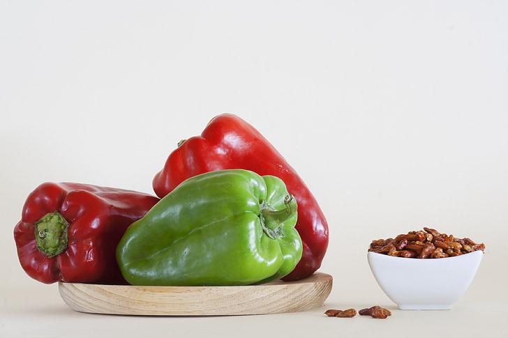 crvene paprike, zelena babura paprika, čili paprika, hrana, povrće, čili papričice, čili