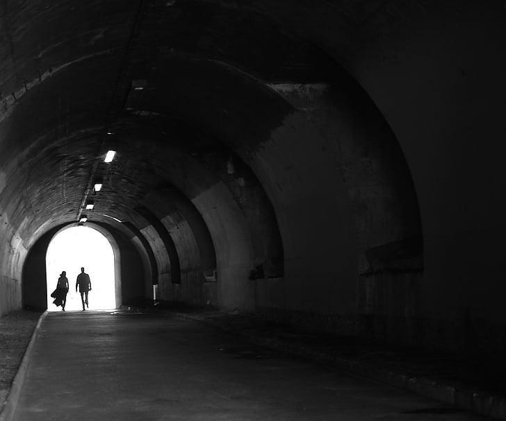 túnel, París, backlit, Teatre, parella, amants, socis