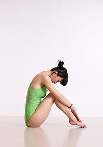 china, female, dance, yoga, posture, beautiful, full length