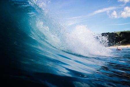 μπλε, Ωκεανός, κύματα, στη θάλασσα, νερό, φύση, ουρανός