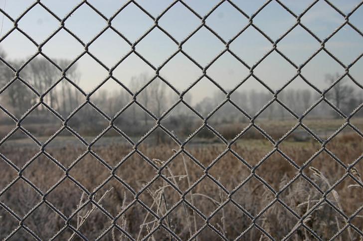 landscape, mesh, fence, frost, winter