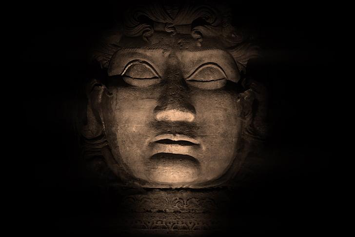 medusa, sculpture, head, statue, old, history, mythology