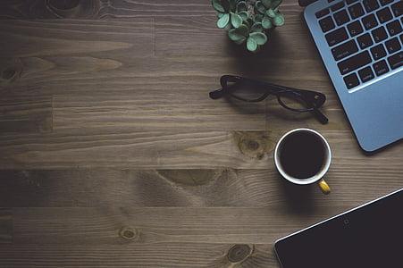 Märkmik, looduslik, sülearvuti, MacBook, kontseptuaalne, raamat, Cup