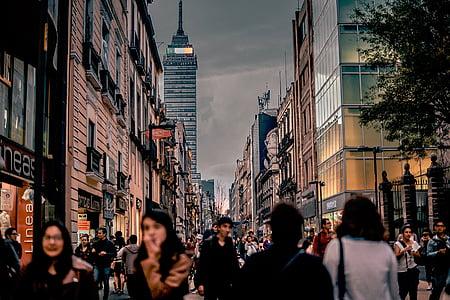 urban, city, buildings, people, crowd, streets, public