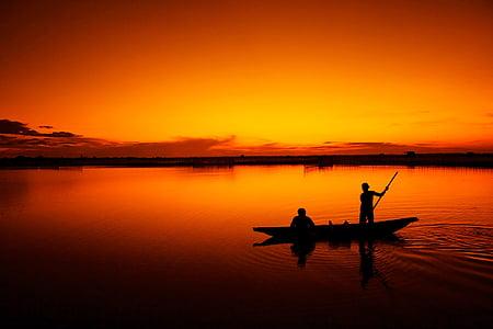 釣り, ボート, 漁師, タム ザン ラグーン, 色相, サンセット, ベトナム