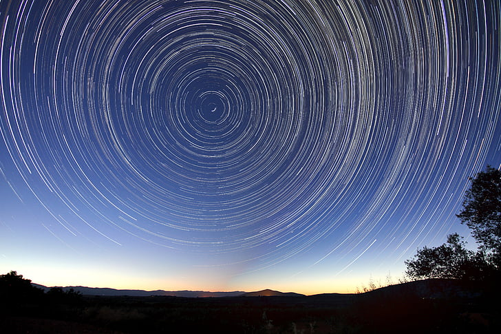 star stier, natt, lang eksponering, Starlight, plass, rotasjon, astronomi