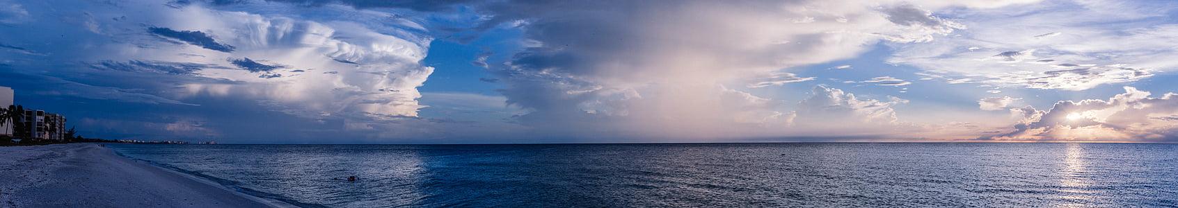 strand, kalme wateren, wolkenvorming, Dawn, daglicht, schemering, Horizon