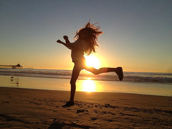 소녀, 점프, 행복, 활성, 활동, 스포츠, 피트 니스