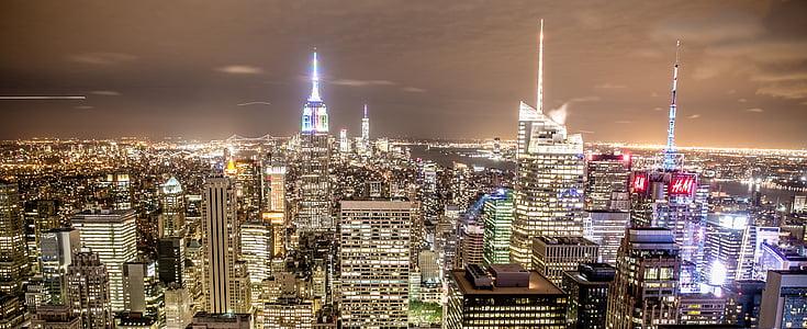 Nova york, ciutat, Manhattan, Nova York, silueta de Nova York, arquitectura, paisatge urbà