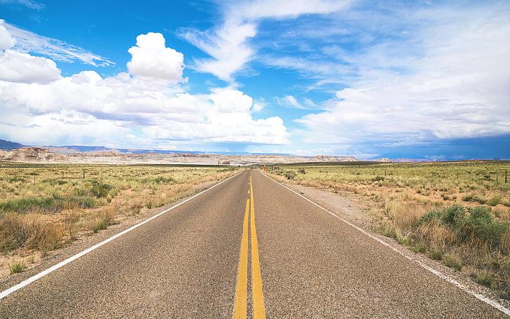 nuvens, concreto, campo, grama, natureza, estrada, céu