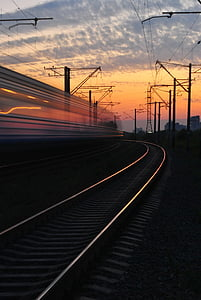 sunset, train, road