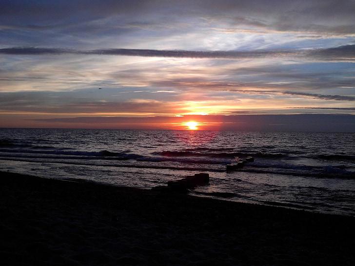 태양, 바다, 비치, 일몰, 로맨틱, 태양과 바다