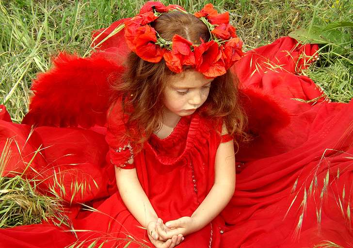 mergaitė, aguonos, raudona, raudoni plaukai, stovykla, gėlė, fantazija