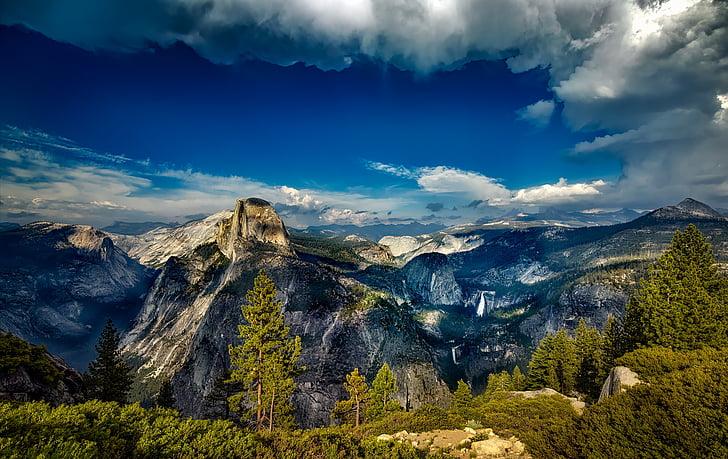 yosemite, national park, landscape, california, mountains, vista, sky