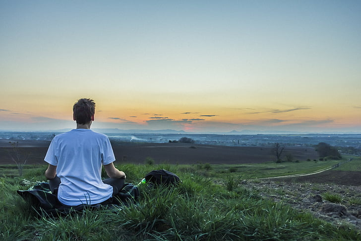 Meditácia, pokojný, nad mestom, povedomie, Meditujúci, Príroda, Jóga