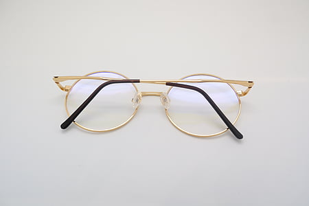 rotondo, in ottone, telaio, occhiali da vista, occhiali, Fluke, Angelo