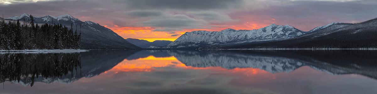 Saulėlydis, vaizdingas, kraštovaizdžio, Apgar kalnai, Makdonaldo ežeras, atspindys, spalvinga