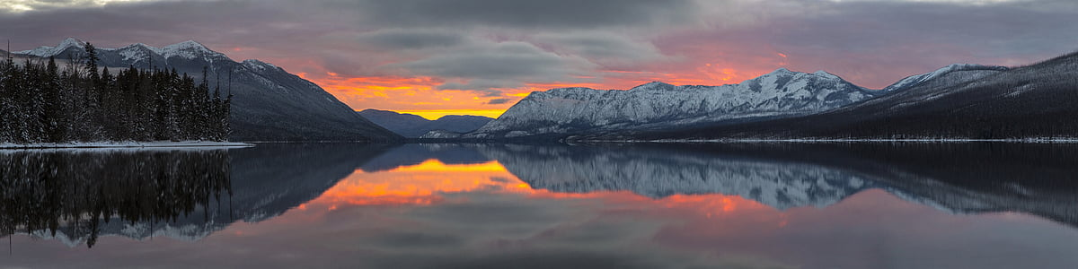 Západ slunce, malebný, krajina, Apgar hory, Lake mcdonald, reflexe, barevné