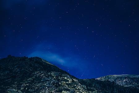 noche estrellada, cielo estrellado, montañas, noche, cielo, estrellada, estrella