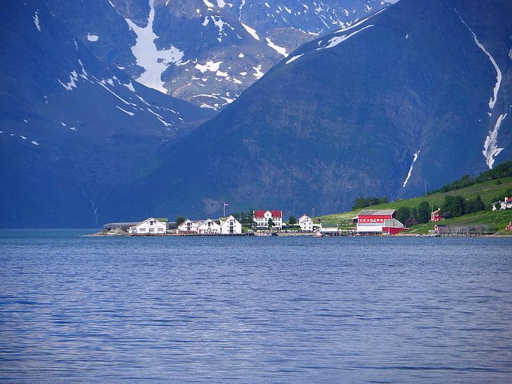 fjord, village, sea, travel