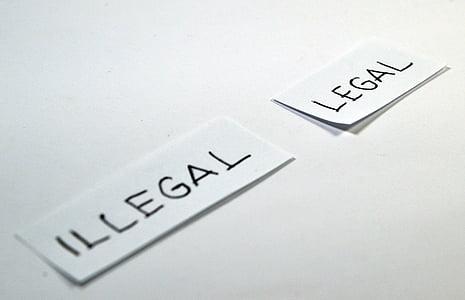 legal, il·legal, triar, elecció, antònim, contrari, icona