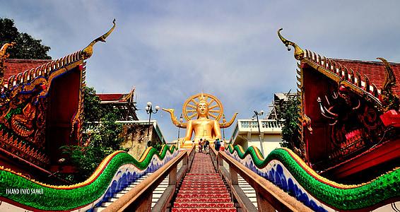 temples, budista, koh samui, Tailàndia, gran buddha, wat phra yai, budisme