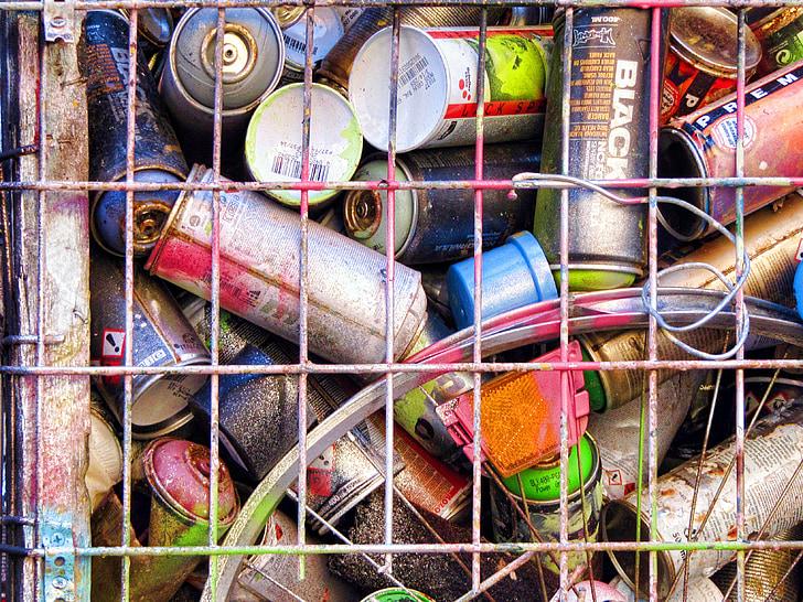 graffiti, doboz festék, spray, üres konzervdobozok, rács, háttér, Lipcse