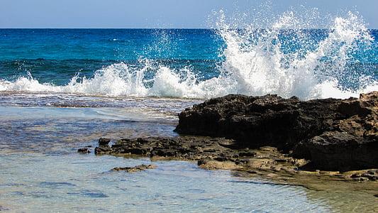 ona, trencant, escuma, esprai, energia, l'aigua, esquitxades