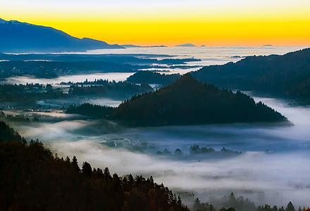 Slovenien, soluppgång, Dawn, morgon, dimma, Haze, dimma