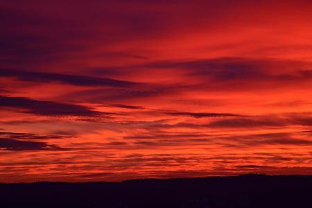 arrebol, pôr do sol, céu da noite, vermelho, céu, noite, pôr do sol