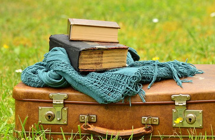 equipatge, maleta de pell, vell, llibres, nostàlgia, llegir, utilitzat