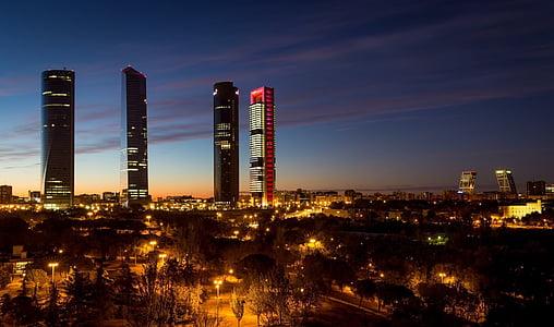 madrid, spain, torres, skyline, leaderboard, skyscraper, night
