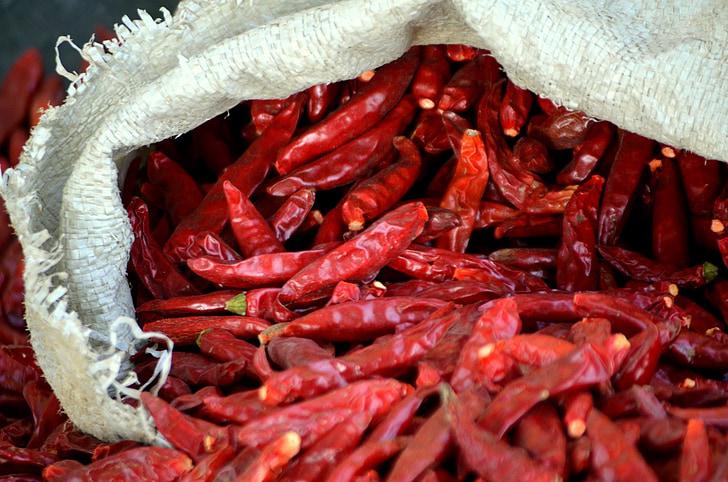 продукти харчування, Чилі, розпечений, перець, перець, червоний перець, приправи