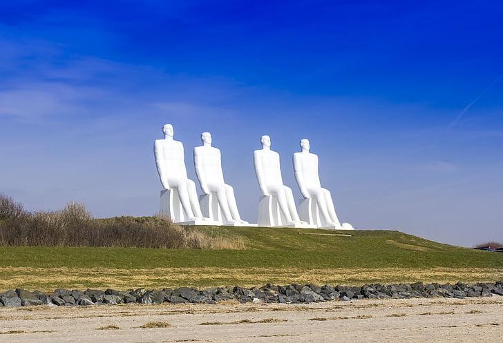 Esbjerg, білі чоловіки, скульптура, Данія, 4 люди сидять, білий