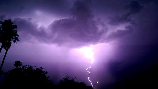 Žaibas, Audra, naktį, debesys, tamsus, perkūnas, Debesuota su pragiedruliais