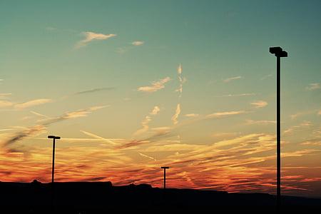 siluett, Inlägg, Molnigt, Sky, solnedgång, lyktstolpar, skymning
