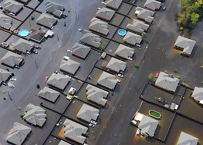 contre les inondations, ville, quartier, maisons, en cas de catastrophe, eau, urbain