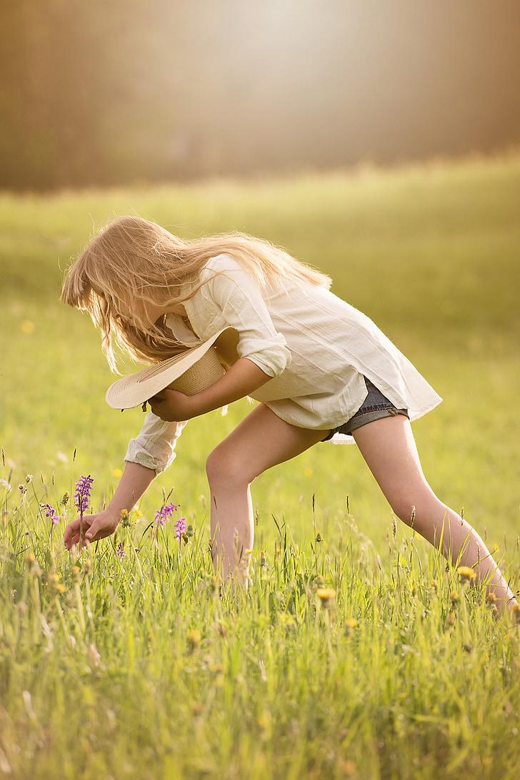 nabiranje cvetlic, dekle, oseba, ljudi, ženski, travnik, narave