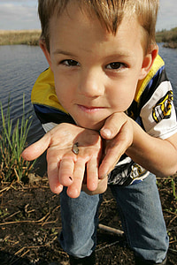 fish, small, holds, boy, young, kids, children