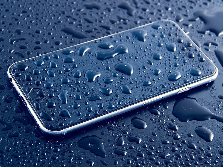 Blur, Cellphone, close-up, enhed, dråber, dråber, dråber vand
