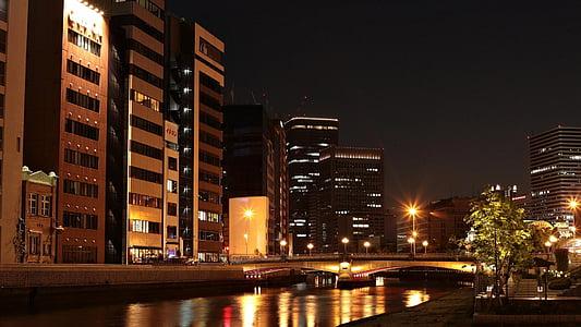 japan, landscape, night view, osaka, light