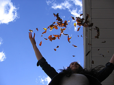 leaves, autumn, fall, throw, happy, girl, woman
