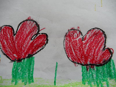 flowers, children drawing, red flowers, child, painting, drawing, painted