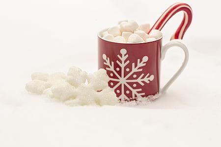 지팡이 사탕, 핫 초콜릿, 코코아, 크리스마스, 휴일, 음료, 마 시 멜로
