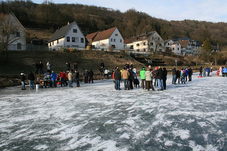 ice, winter, river, frozen, skate, cold, lahn