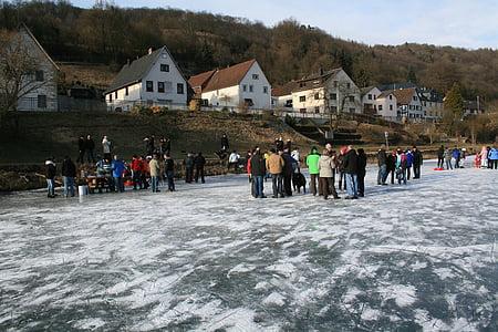 gel, l'hivern, riu, congelat, Bathyraja, fred, Lahn