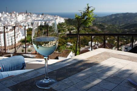 Medelhavet, vin, spegling, Sol, landskap, vinglas, alkohol