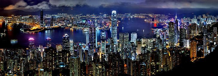 Skyline, noc, architektura azja, Drapacz chmur, Chiny, centrum miasta, panoramy