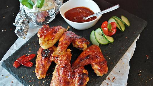 vistas, spārnu, vistas spārniņi, Buffalo, pārtika, milti, ēst