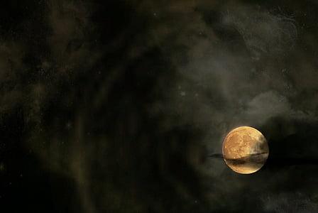 mēness, naktī, mākoņi, galaktika, nakts foto, debesis, gaismas atspulgi